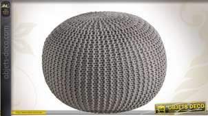 Pouf boule en coton Ø 50 cm coloris taupe