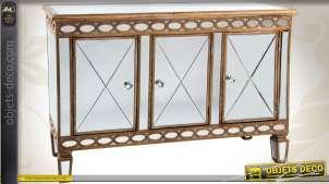 Buffet bas de style Art Déco bois et miroir à trois portes
