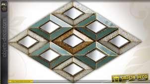 Déco murale Art Déco en losanges métal vieilli à miroirs 169 cm