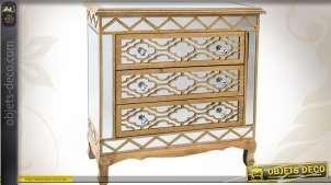 Commode bois et miroirs à 3 tiroirs style Art Déco