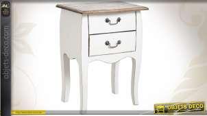 Table de nuit en bois coloris naturel et blanc vieilli