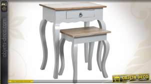 Tables gigognes en bois coloris gris ancien et finition bois