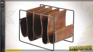 Porte-revues compartimenté en métal et cuir patiné