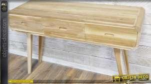 Bureau vintage à pieds en compas bois brut sans finition