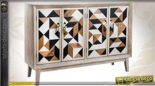 Enfilade à 4 portes de style Art Déco à motifs géométriques