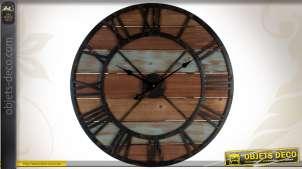 Horloge murale ronde en métal et bois finition patinée