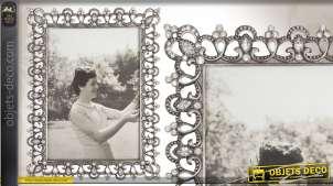Cadre-photo ornemental en métal vieilli et orné de strass