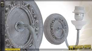 Applique murale en bois patiné gris finition vieillie