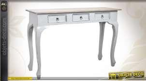 Console en bois patinée gris antique pourvue de 3 tiroirs