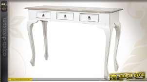 Console en bois patinée banc antique et pourvue de 3 tiroirs