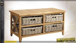 Table basse en bois avec corbeilles en poelet gris
