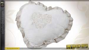 Coussin décoratif en forme de coeur en coton et en lin