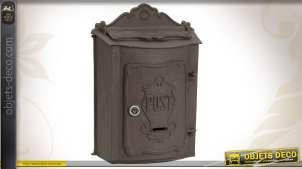 Boîte à lettres murale en métal vieilli de style ancien
