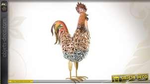 Coq décoratif en métal coloré