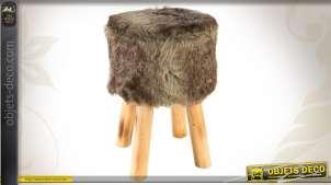 Tabouret en bois et fausse fourrure coloris brun