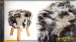 Tabouret en bois et fausse fourrure multicolore