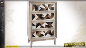 Commode en bois de style Art Déco à 4 tiroirs