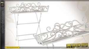 Table d'appoint décorative en métal blanc vieilli