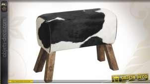 Tabouret mini-banc en bois et peau de vache