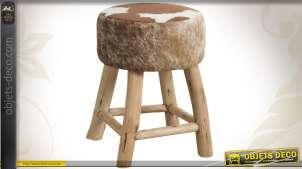 Tabouret rond en bois et en peau de vache naturelle