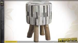Tabouret rond en bois et peau de vache coloris gris
