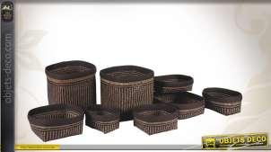 Série de 8 corbeillles de rangement en palmier finition bicolore