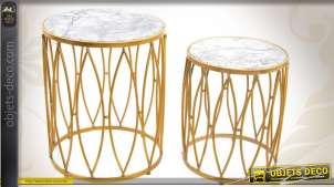 Duo de sellettes déco en métal doré effet marbré