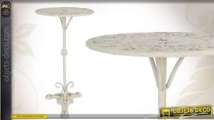 Table d'appoint inspiration fer forgé en métal patiné blanc