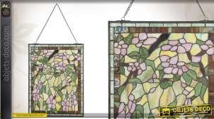 Décoration murale vintage en verre Tiffany motifs floraux