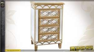 Chiffonnier bois et miroirs à 4 tiroirs style Art Déco