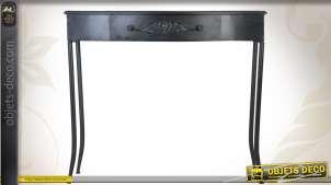 Console noire en métal de style rétro