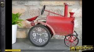 Horloge tracteur de style vintage en métal rouge vieilli 32 cm