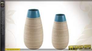 Duo de vases déco en bambou naturel