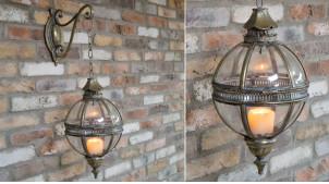 Lanterne sphérique en métal et en verre de style ancien
