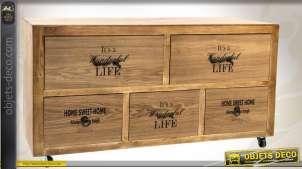 Commode basse en bois pourvue de 5 tiroirs
