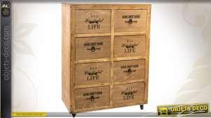 Commode en bois à 8 tiroirs finition cirée
