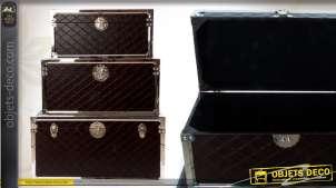 Trio de coffres de rangement finition silimicuir noir