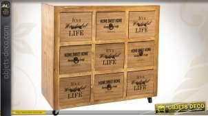 Commode en bois pourvue de 9 tiroirs finition cirée