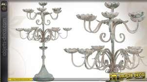 Candélabre de style ancien en métal finition vieillie