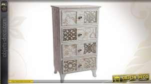 Chiffonnier en bois à 4 tiroirs de style campagne chic