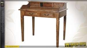 Bureau en bois de style ancien finition cire dantiquaire