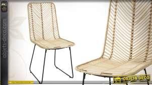 Chaise en métal et en rotin finition naturelle