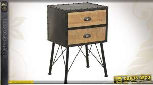 Table de chevet de style industriel en métal et en bois