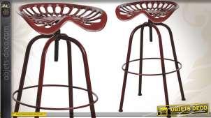 Tabouret de bar assise tracteur coloris rouge antique
