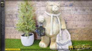 Statuette d'ours de Noël avec lanterne