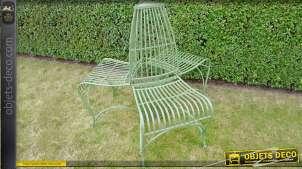 Siège de jardin 3 chaises, réalisé en métal patiné vert