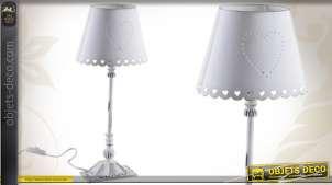 Lampe de table romantique coloris blanc ancien