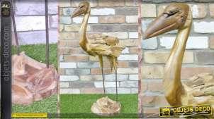 Grande statuette stylisée d'oiseau en bois