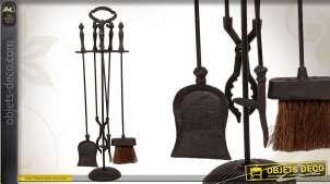 Serviteur de cheminée en métal noir : 4 accessoires