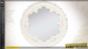 Miroir mural de forme ronde et patiné en blanc ancien